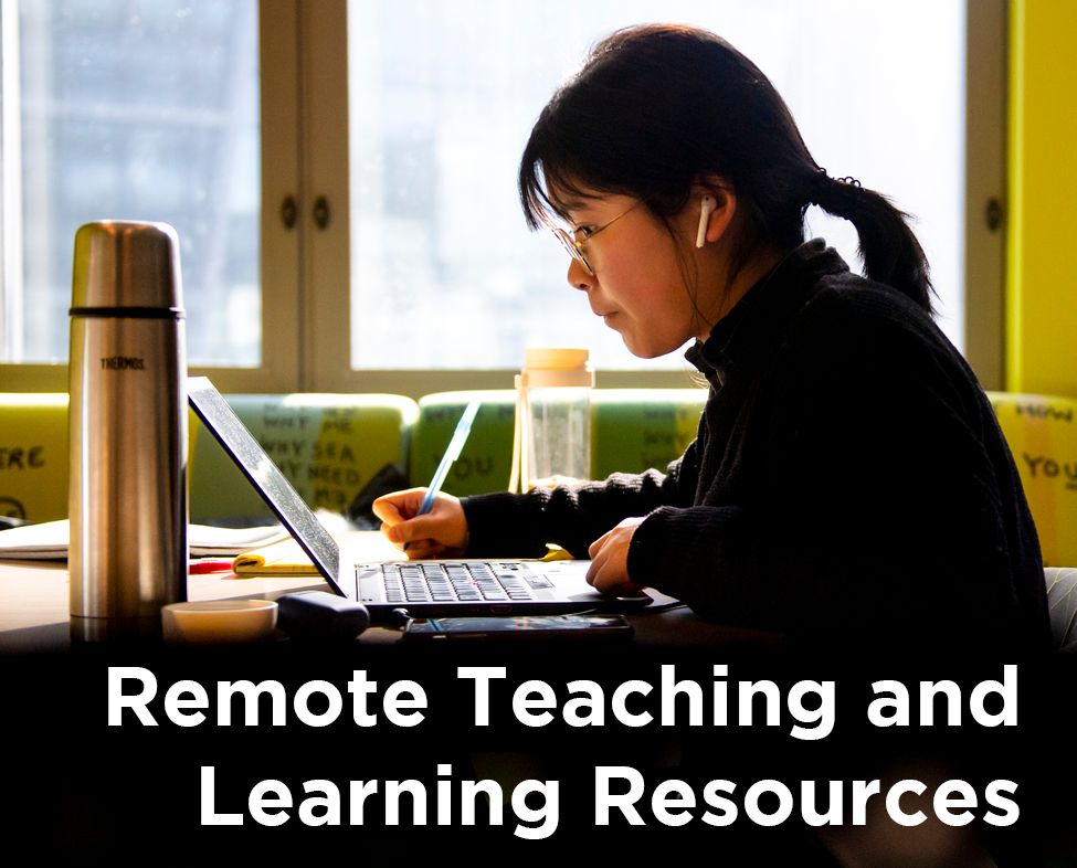 Student using a computer with the title Remote Teaching and Learning Resources