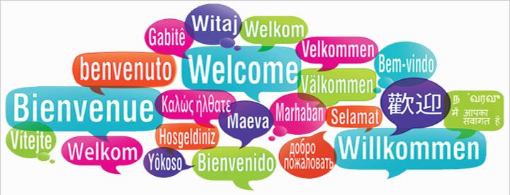 Illustration of the word Welcome in a variety of languages.