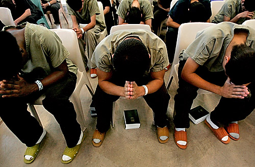 Image of teens at a juvenile detention center