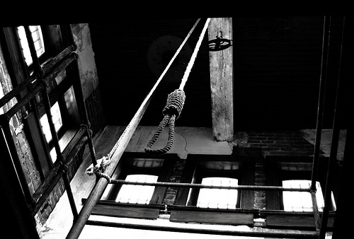 An image of a noose as seen from below.