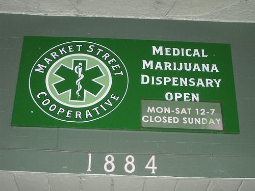 Image of the sign for a marijuana dispensary