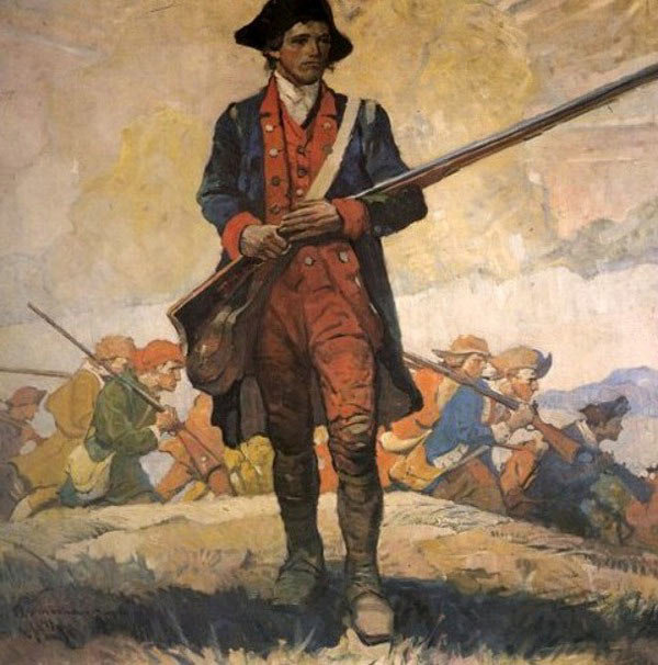 Painting of a Revolutionary War soldier.