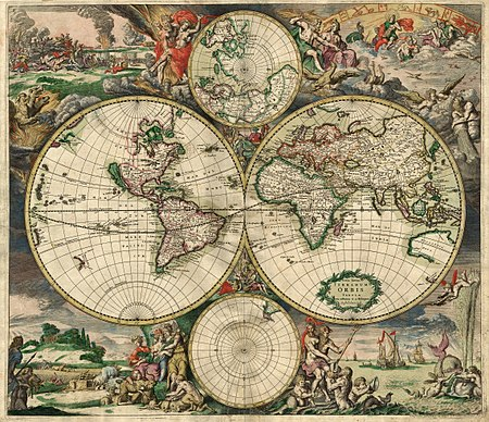Illustrated hand drawn map of the world.