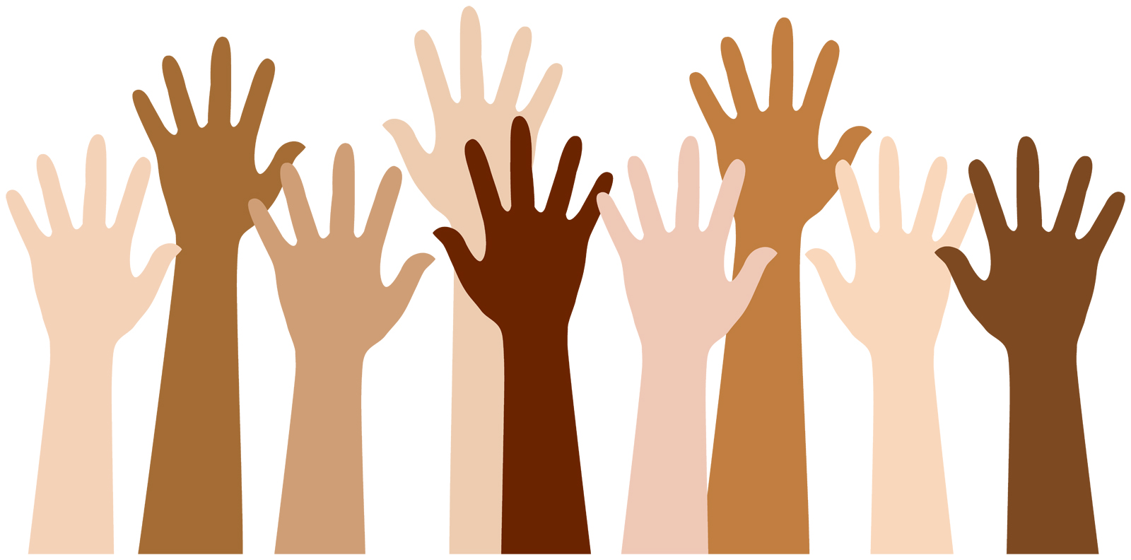 many hands with varying skin tones
