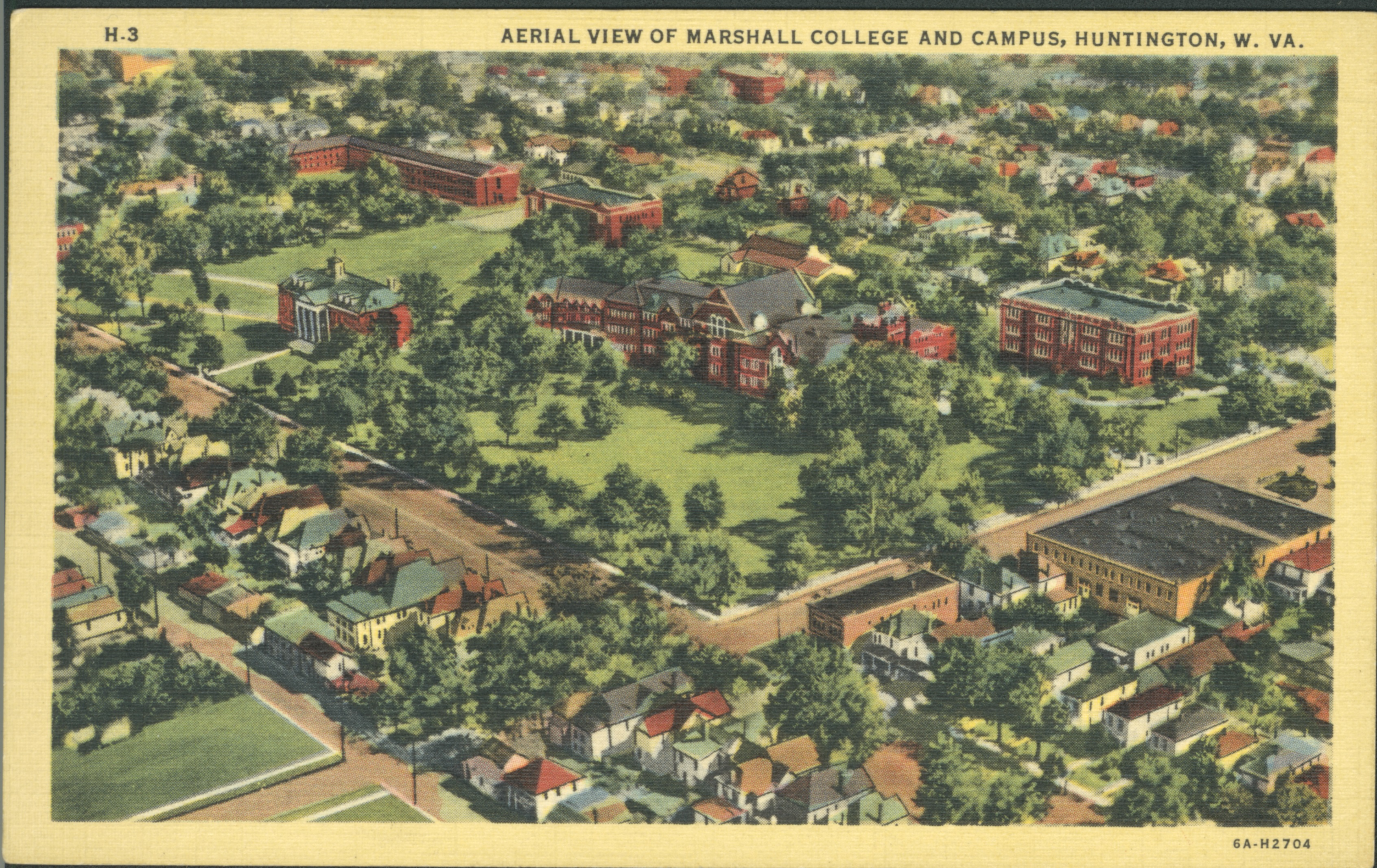 Aerial photo of Marshall College and campus