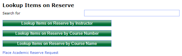 Example image of the eReserve search page.