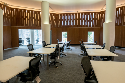 Image of the Manuscripts, Archives, and Rare Books Reading room showing 8 tables and some of the 16 available seats