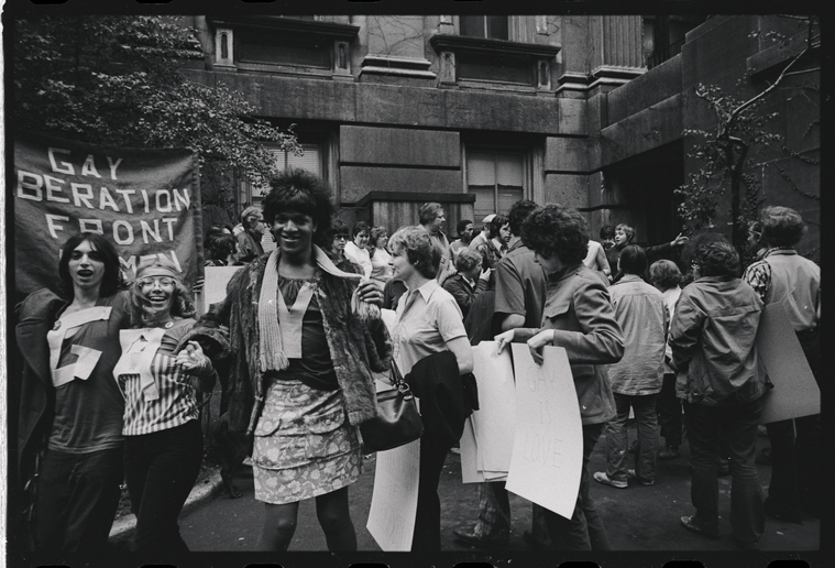 "Manuscripts and Archives Division, The New York Public Library. ""Gay Liberation Front women demonstrate at City Hall, New York "" New York Public Library Digital Collections. Accessed June 12, 2020. http://digitalcollections.nypl.org/items/0383fe20-8dcd-0135-f78e-6dcf444da694"