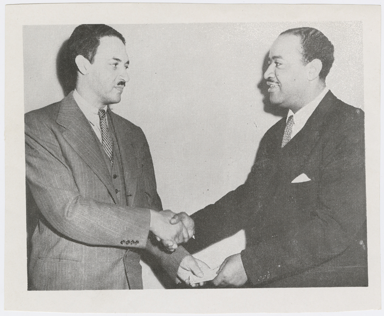 Civil rights attorney Thurgood Marshall (left) and lawyer and political activist Benjamin J. Davis, circa 1940s
