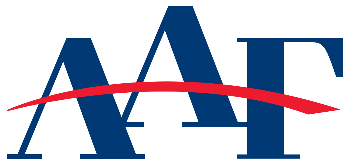 Logo - Text AAF in dark blue lettering with a curved red line running through all three letters.