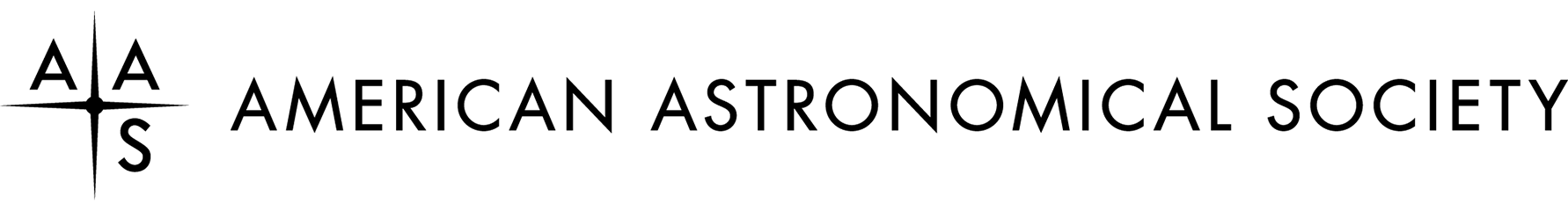 Logo - Text in black lettering to the right of a black compass-star shape with the letters AAS around it.