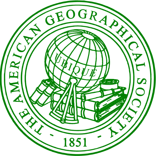 Logo - Text in green lettering inside a ring around an image of a globe surrounded by books, telescope, and other cartographer paraphernalia.