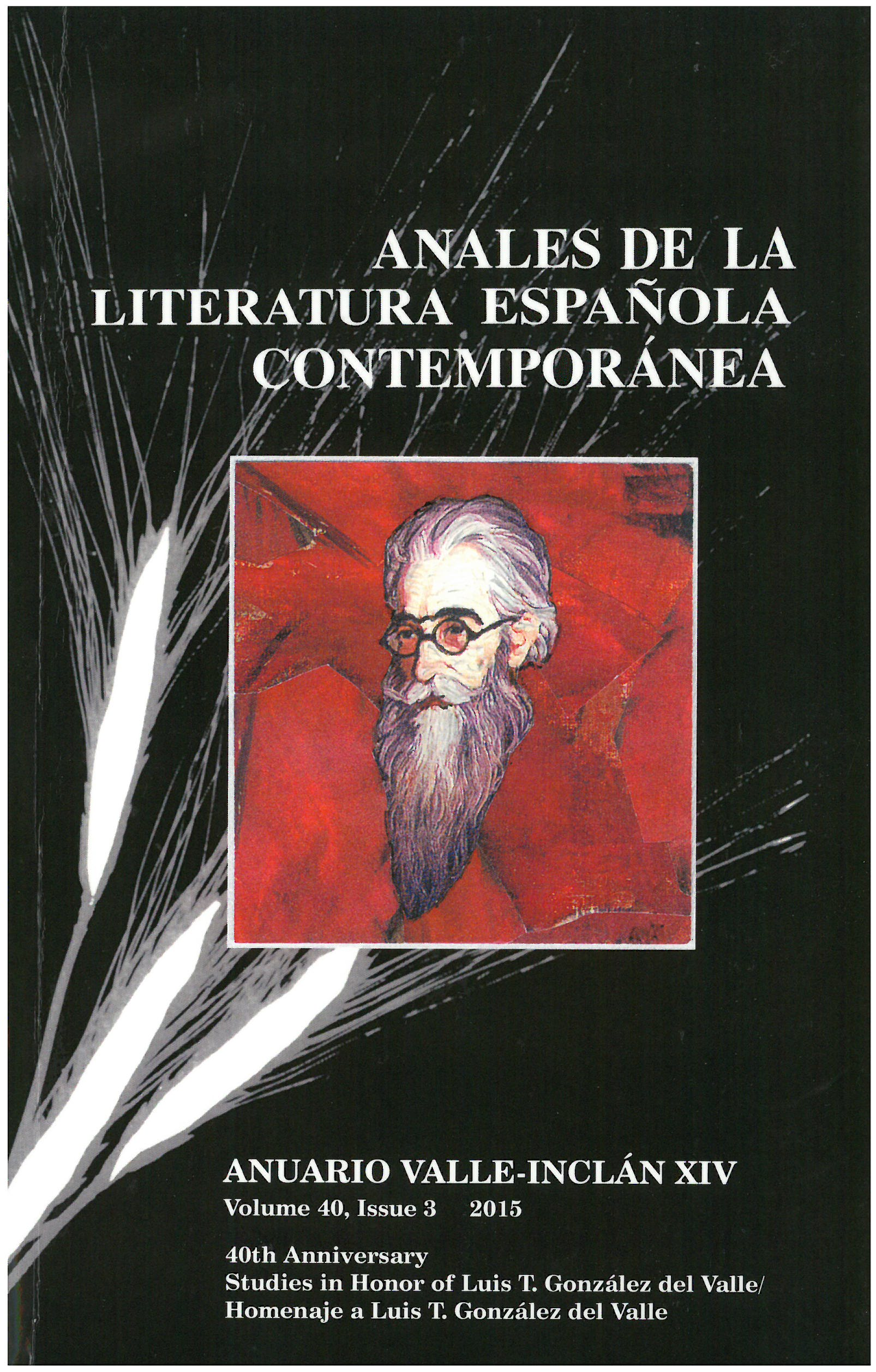 Journal Cover - Title in white lettering above a portrait of an elderly bearded man in a red box against a dark background with white shapes like stalks of wheat.