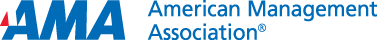 Logo - Text in blue lettering to the right of the letters AMA in bold blue lettering with a red triangle.