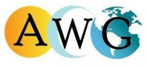 Logo - Text AWG in black lettering overtop a yellow circle, a crescent moon, and an image of the globe.