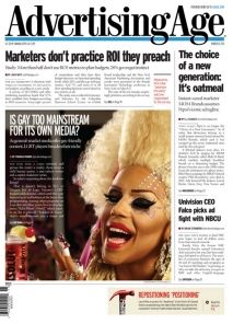 Journal Cover - Title in black lettering as the heading of a newspaper-style page with columns of black text and an image of a drag queen.