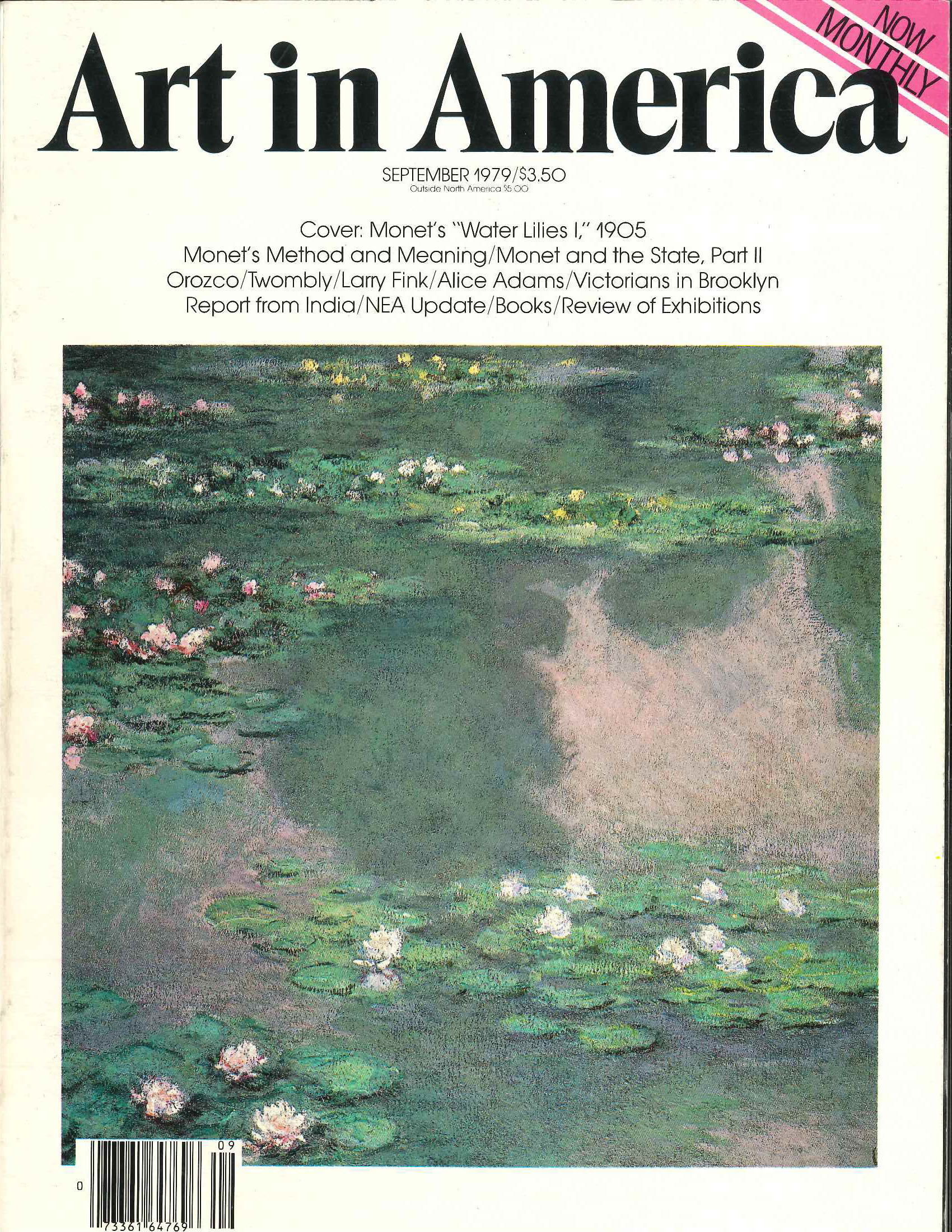 Journal Cover - Title in black lettering above an impressionist painting of water lilies on a lake against a white background.