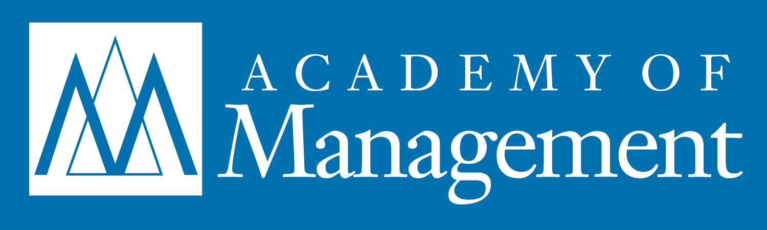 Logo - Text in white lettering against a blue background to the right of a blue M over the outline of a triangle in a white box.
