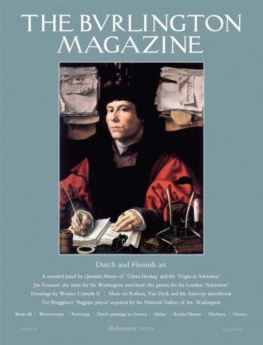 Journal Cover - Title in white lettering above a painting of a man in elaborate clothing at a desk surrounded by stacks of paper against a dull teal background.