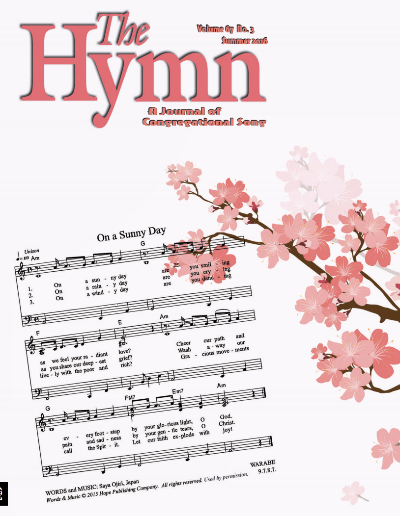 Journal Cover - Title in pink lettering over an illustration of tree branches with pink flowers over a page of sheet music against an off-white background.