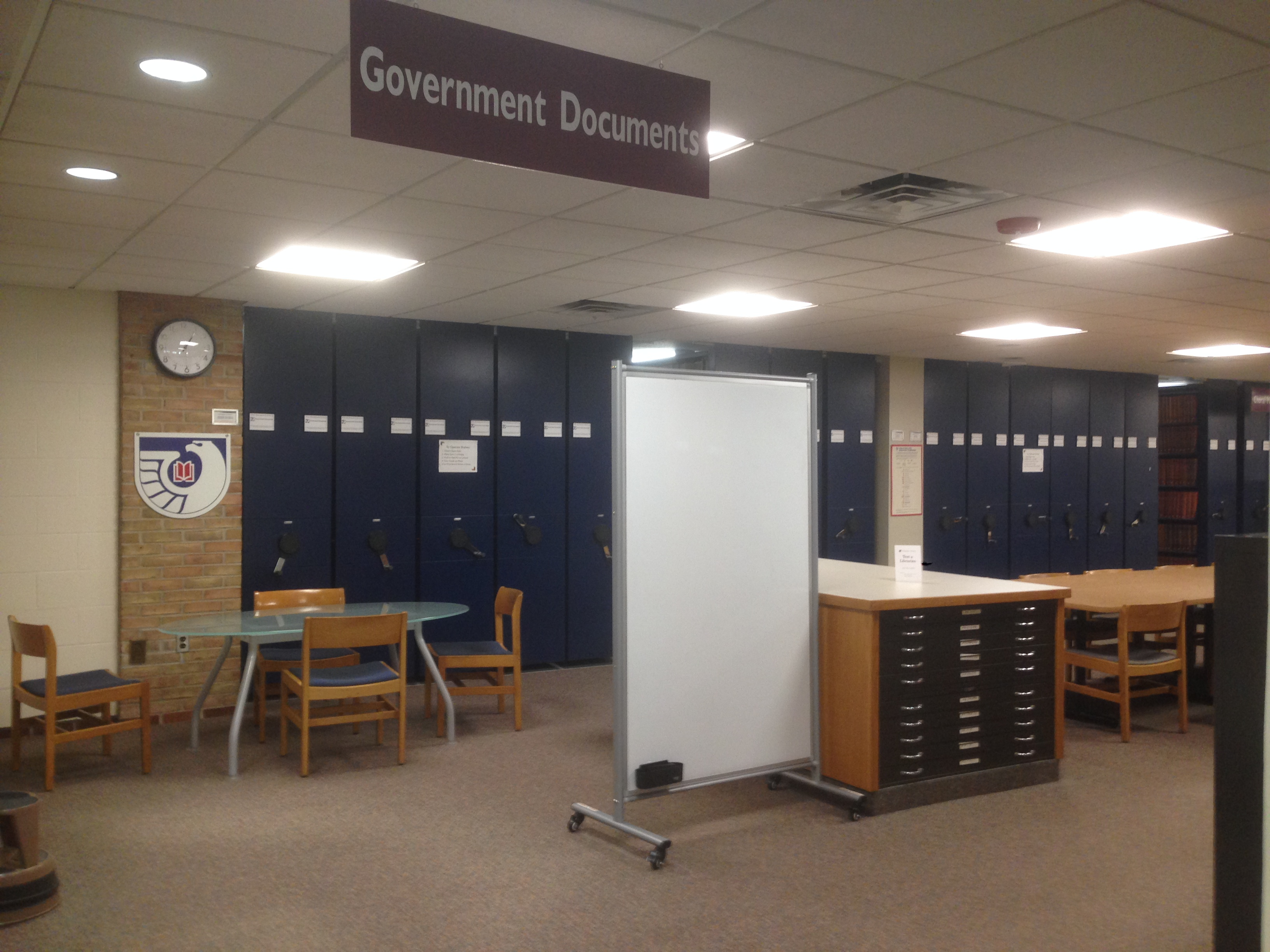 Photograph of the Government Documents collection in the Hekman Library.