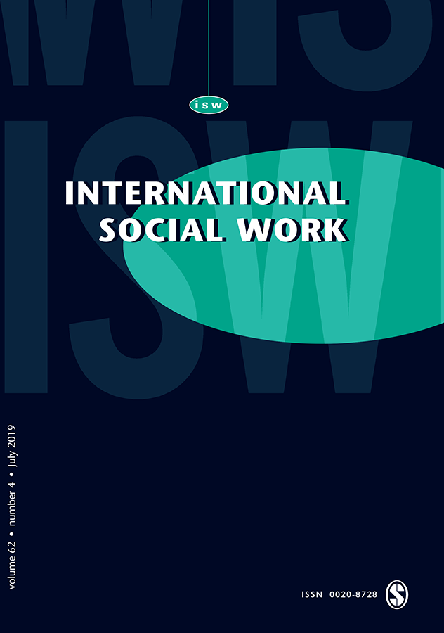 Journal Cover - Title in white lettering over a dark indigo background with a bright teal oval above the faded letters ISW.