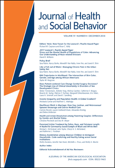 Journal Cover - Title in blue lettering above lines of blue text against a white background with a large, bold blue and orange zigzag line on the left.