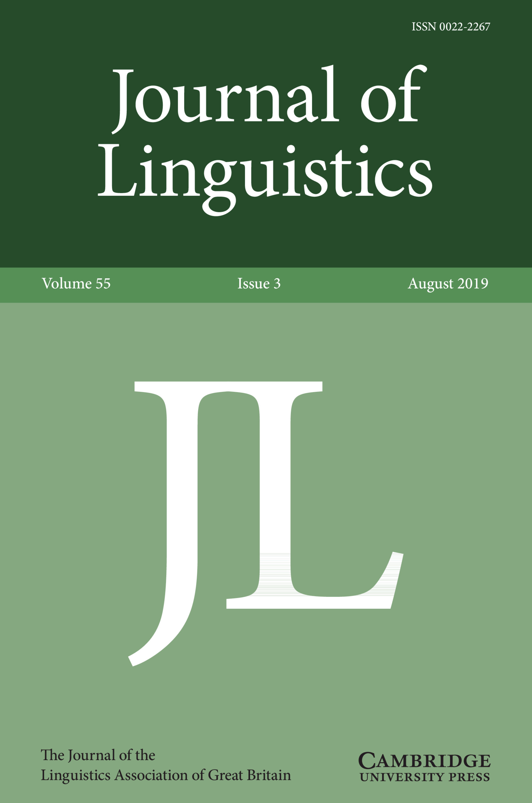 Journal Cover - Title in white lettering in a dark green banner above the large letters JL in white text against a light green background.