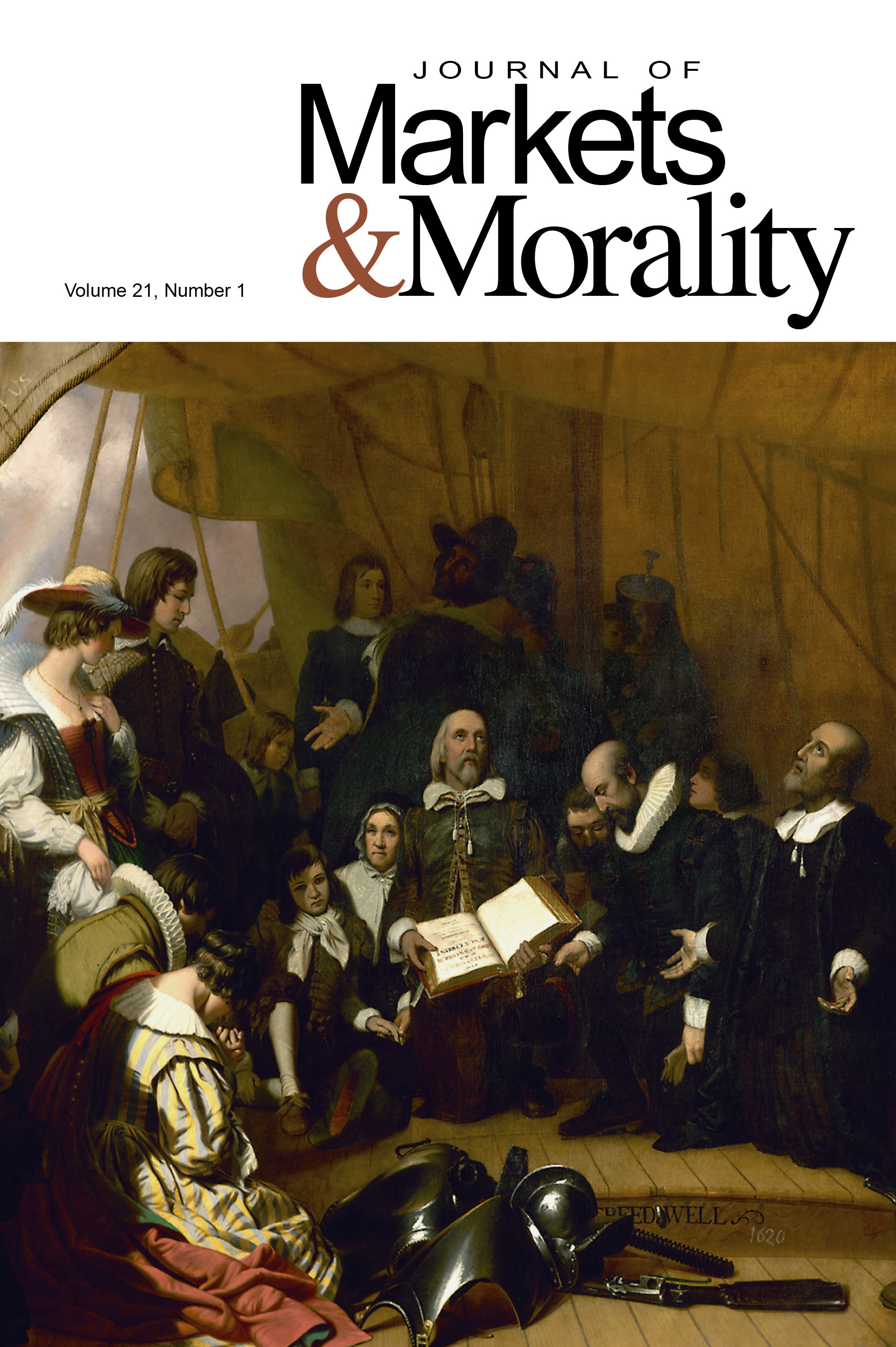 Journal Cover - Title in black lettering above a painting of a group of people in circa 18th century clothing gathered in a circle and praying.