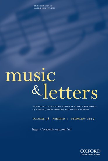 Journal Cover - Title in light yellow and white lettering against a blue background with a faint image of sheet music notes.