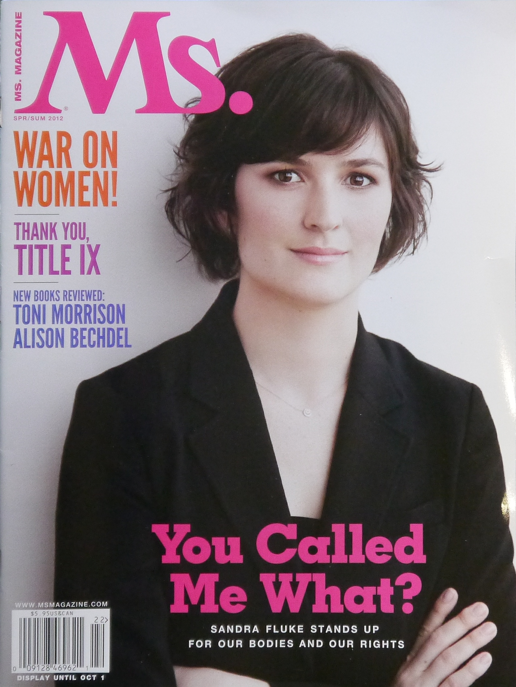 Magazine Cover - Title in pink lettering over a photograph of a young woman with her arms crossed.
