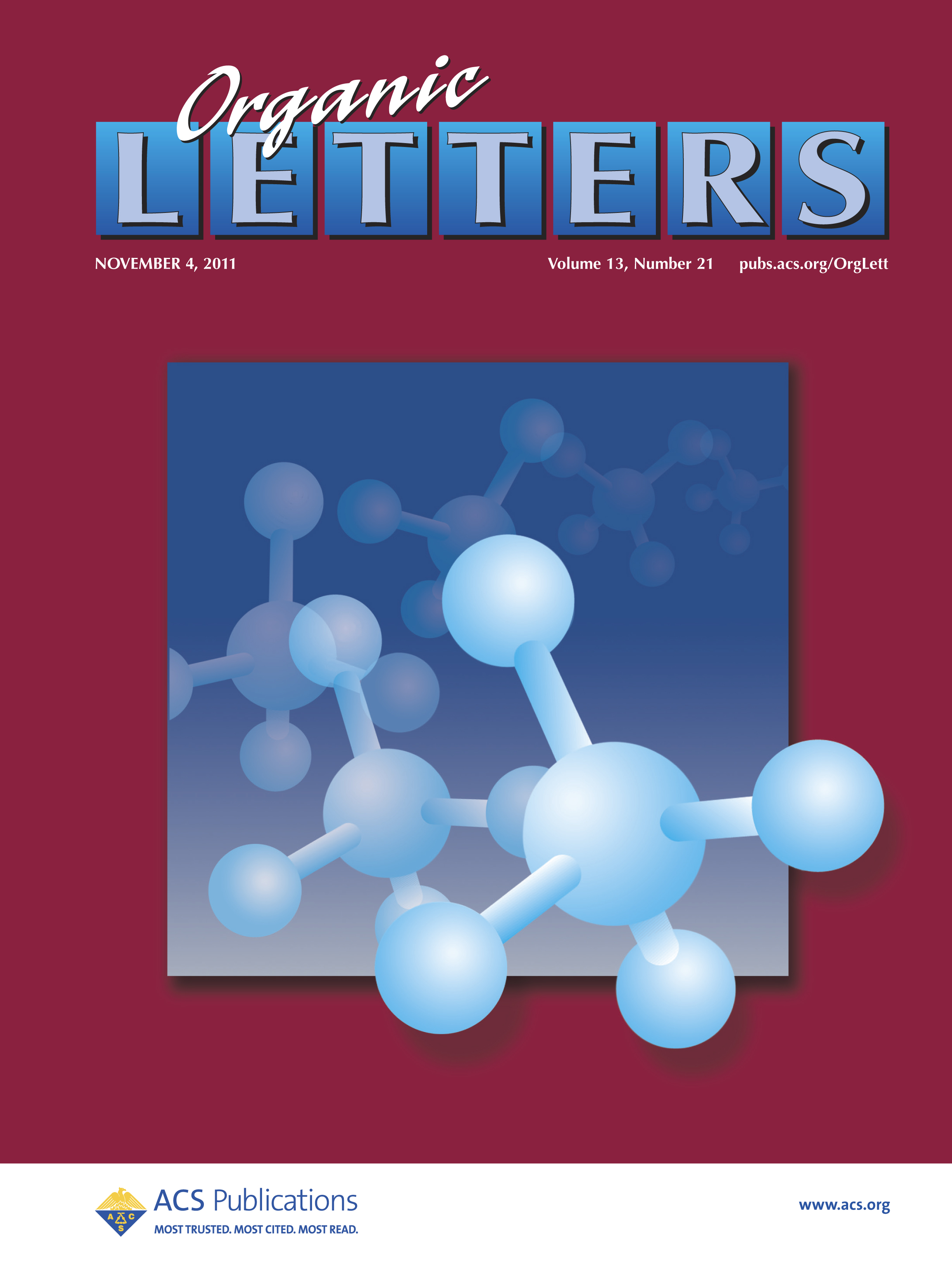 Journal Cover - Title in white lettering and bold purple lettering in blue boxes above an illustration of connected molecules against a magenta background.