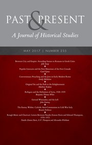 Journal Cover -Title in white lettering in a grey banner above rows of white text against a deep red background.