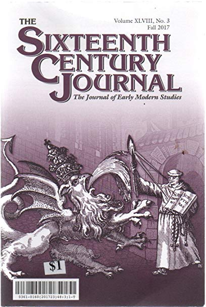 Journal Cover - Title in purple lettering above an purple-monochrome illustration of a man warding off a griffin-like monster.