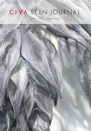 Journal Cover - Title in red and black lettering in a slightly transparent white banner over a black-and-white image of leaf-shapes made out of wire or netting.