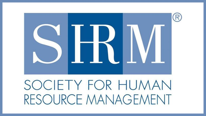 Logo - Text in dark teal lettering underneath three blue boxes with the letters SHRM inside in white lettering.