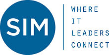 Logo - Text in blue lettering to the right of a blue circle with the letters SIM inside in white lettering.