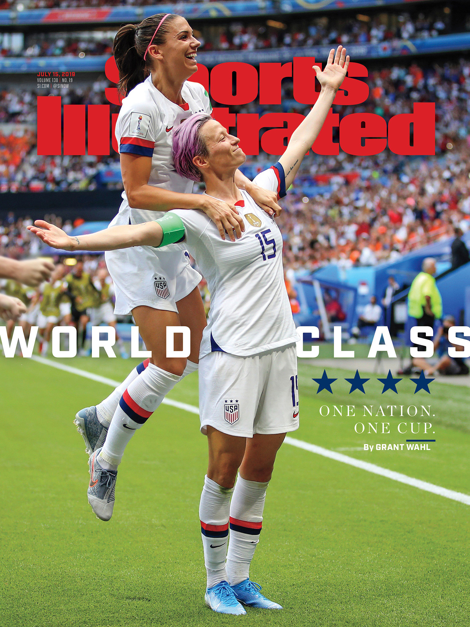 Magazine Cover - Title in red lettering behind a photograph of two ecstatic soccer athletes celebrating a win.