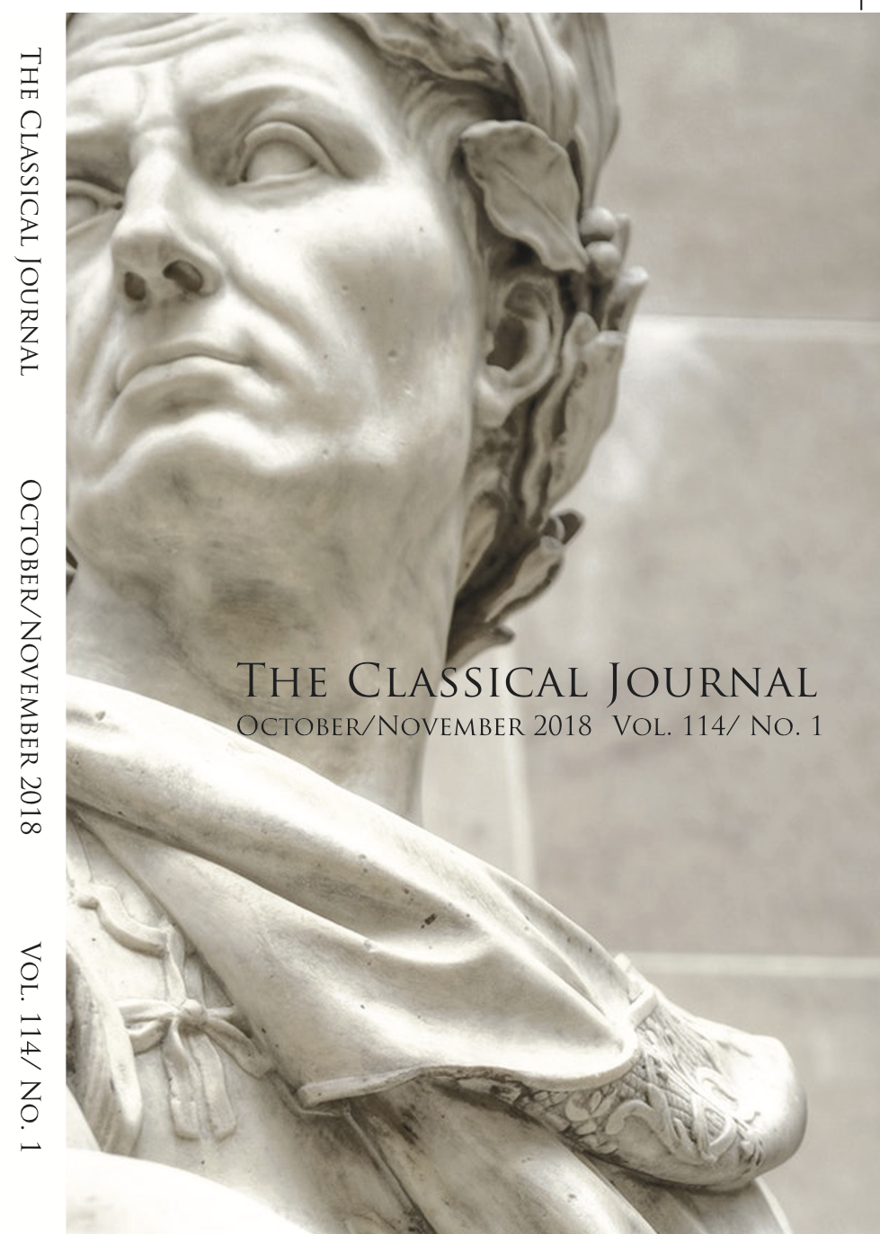Journal Cover - Title in black lettering above a photograph of the head of a marble sculpture with a white vertical banner on the left.