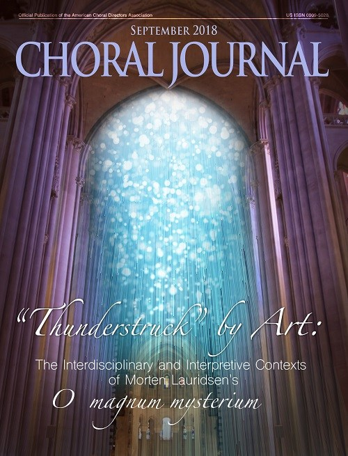 Journal Cover - Title in lavender lettering over a photograph of cathedral arches with blue light streaming in from above.