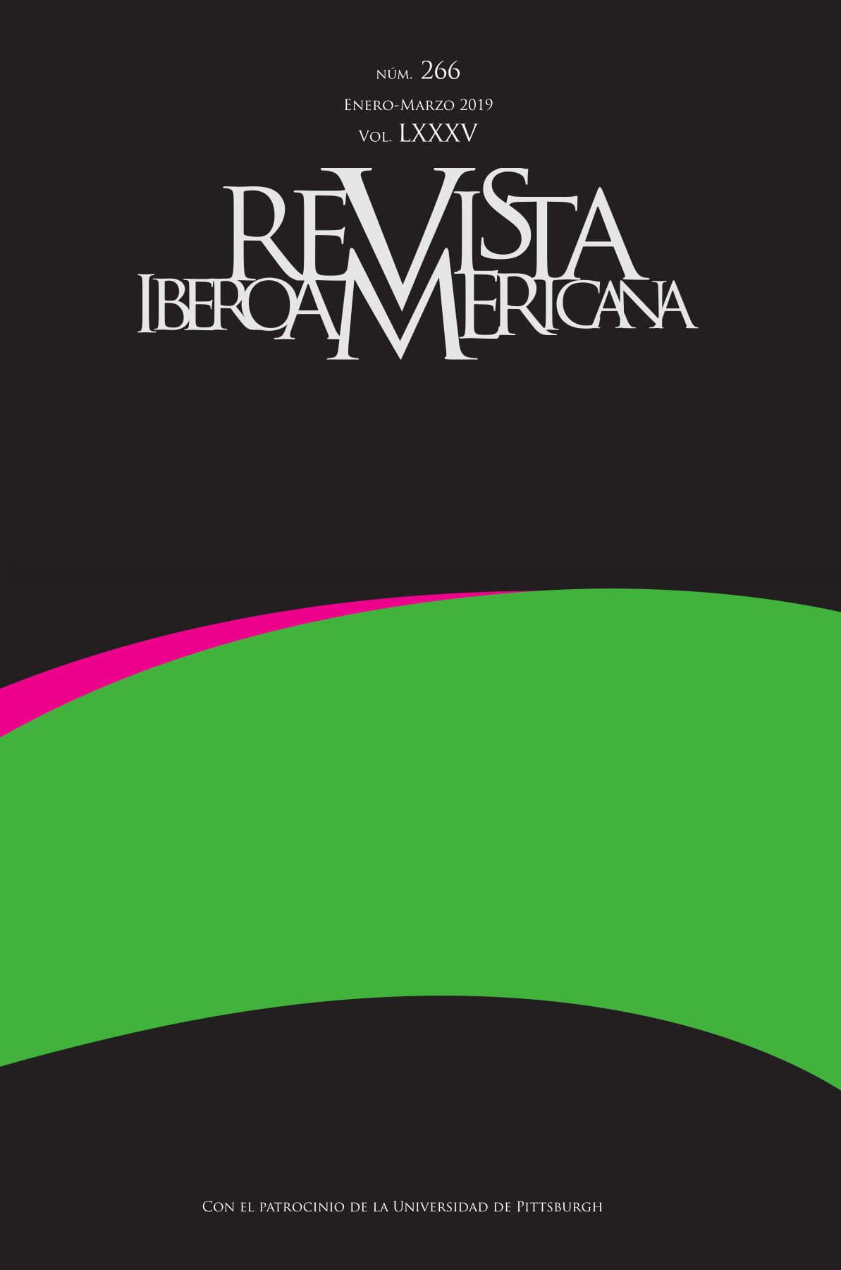 Journal Cover - Title in grey lettering over a thick curve of green and pink against a dark grey background.