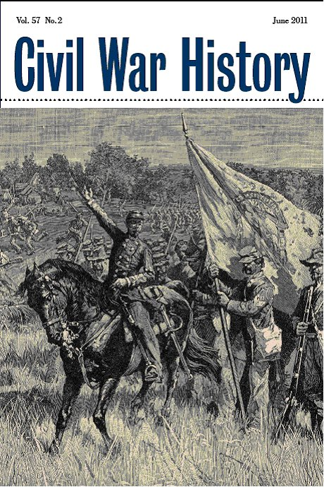 Journal Cover - Title in blue lettering in a white banner above a black and white illustration of horseback soldiers on a battlefield.