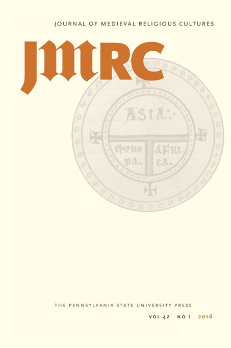 Journal Cover - Title in dark beige and orange lettering over a faded medieval emblem against a light cream background.