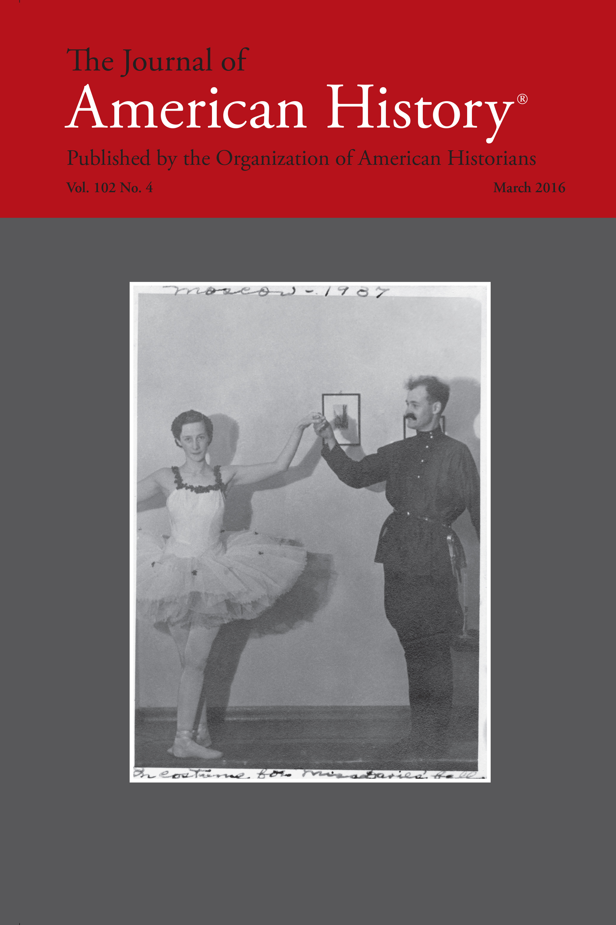 Journal Cover - Title in black and white lettering in a red banner above a black and white photograph of a ballerina and a soldier against a grey background.