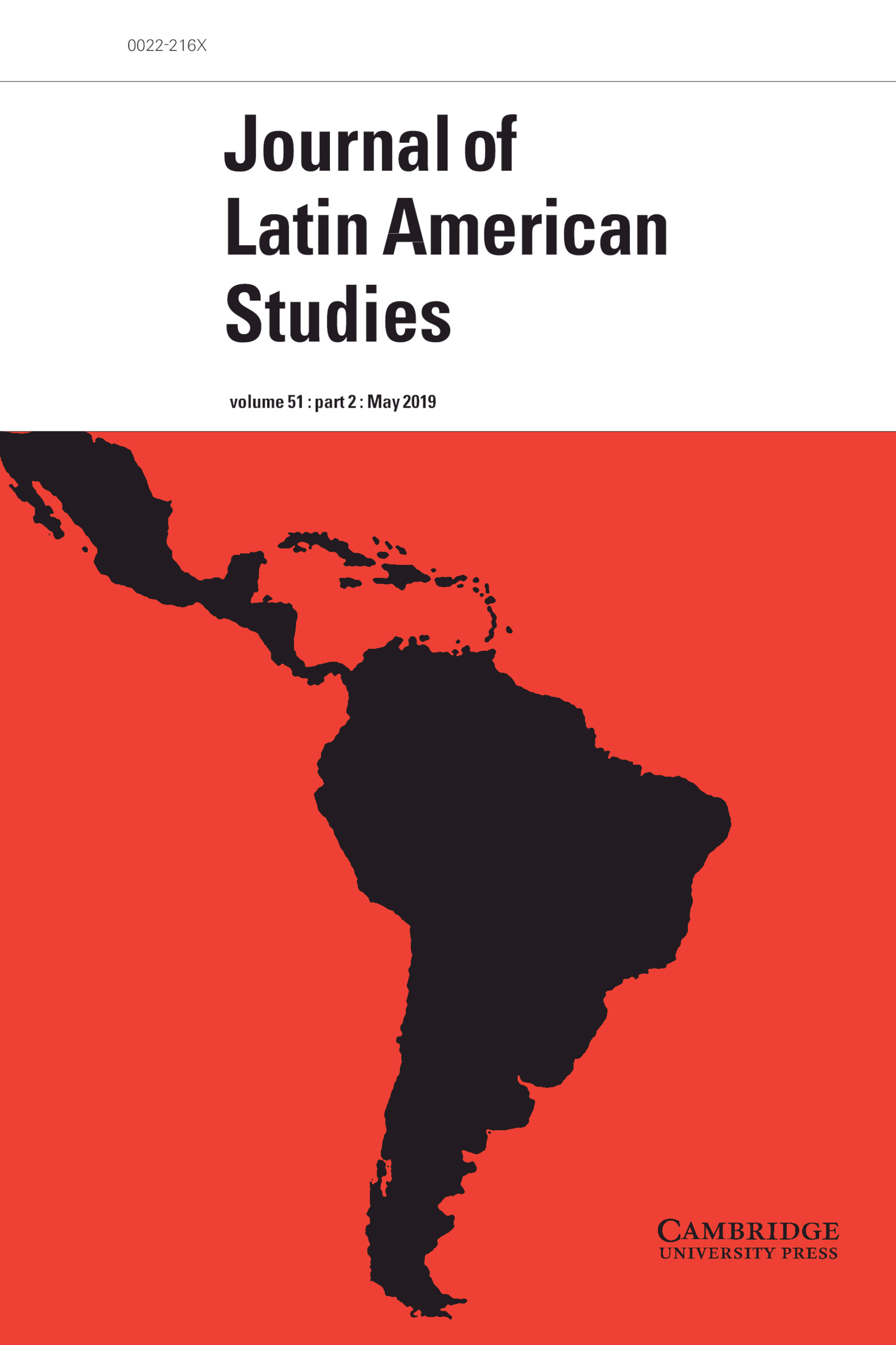 Journal Cover - Title in black lettering in a white banner above a picture of South and Central American continents against a red background.