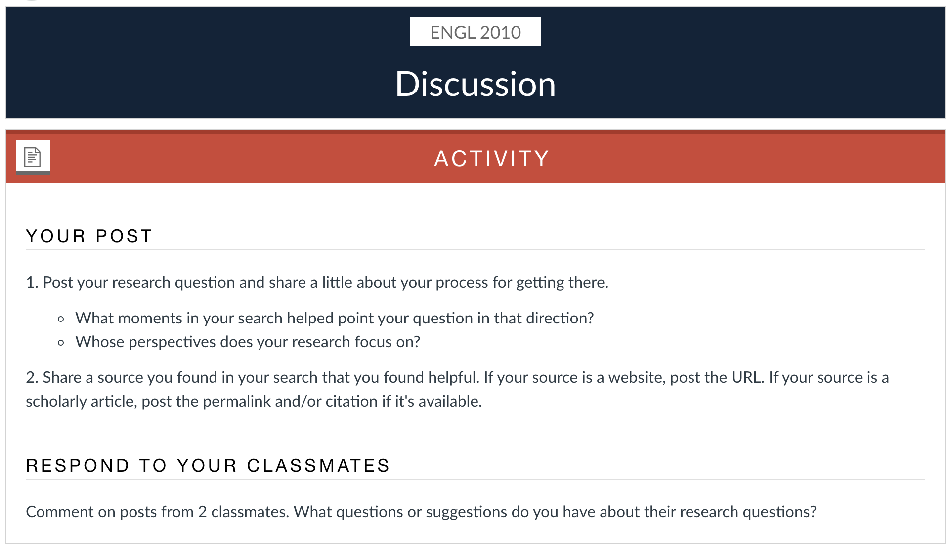 Discussion post asking students to post their research question and a source they found.