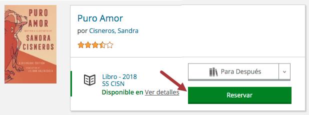 El libro Puro Amor está disponible. Una flecha indica el botón Reservar.