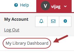 My APL account menu highlighting My Library Dashboard
