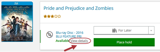 """Screenshot of the Blu-ray, """"Pride and Prejudice and Zombies,"""" with an arrow indicating the link, """"View Details."""""""