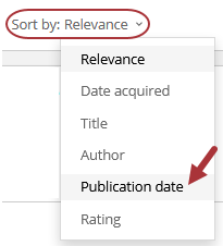 The Sort By menu is shown, with an arrow pointing to Publication date.